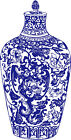 Beautiful Blue White Leaves Vines Pot Vase Design Needlepoint Canvas