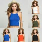 Womens Ladies Casual Sleeveless Plain Halter Neck Crop Top Girls Sexy Vest N98B
