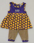 LSU TIGER'S GIRL'S 2 PIECE OUTFIT SET SLEEVELESS TUNIC & CAPRIS PANTS LOUSIANA