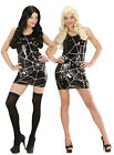 LADIES SPIDER WITCH COSTUME SEQUIN WEB BLACK FANCY HALLOWEEN PARTY DRESS 8-12