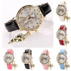 Women Girl Faux Leather Cat Watch Diamond Analog Quartz Casual Wrist Watches image