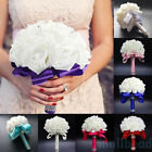 New Handmade Crystal Bridal Wedding Bouquet Silk Flower Bridesmaid Foam Brooch