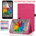 LG G Pad X 8.0/3 8.0 Premium Smart Folio Pu Leather Case Cover +Screen Protector