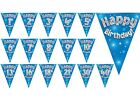 Boys Happy Birthday Party Bunting Foil Holographic Blue 11 flags 39m Age 1-40