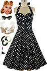 50s Style Eleanor Paige PINUP Black &White Big POLKA DOTS Print HALTER SunDress