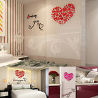 3D Removable Love Heart Mirror Wall Sticker Decal Art Mural Home Decor DIY