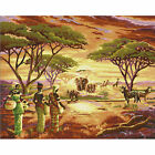 African Lady & Animals Hand Painted Design Needlepoint Canvas H11