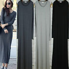 Fashion Women Long Sleeve Double U Neck Cotton Loose Casual Long Dress 4 Colors