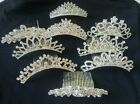 Bridal Bridesmaid Silver Crystal Diamante Tiara Wedding Party Prom Hair Comb NEW