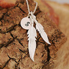 925 Sterling Silver Personalised Pair Of Feathers Pendants Necklace &Initial Tag