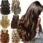 "19-26"" Long Full Head Clip in Hair Extensions Black Brown Blonde for human sn09"