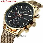 Luxury Men's Stainless Steel Mesh Band Analog Date Sport Quartz Wrist Watches