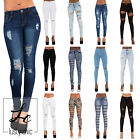 WOMENS RIPPED JEANS STRETCH FADED SLIM FIT LADIES SKINNY DENIM SIZE 6 8 10 12 14