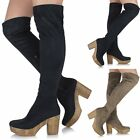 Ladies Over The Knee Thigh High Chunky Platform Heel Suede Stretch Boots Shoes