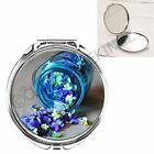 JAR OF LITTLE BLUE FLOWERS GIRLY HANDBAG POCKET MAKEUP COMPACT MIRROR