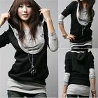 Plus Size Womens Casual Long Sleeve Tops Pullover Casual Hoodie Jumper Sweater