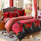 4Pcs 3D Red Rose Queen King Twin Size Quilt Cover Bedding Set Home Textiles P1J1