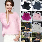 Women's Slim Real Rabbit Fur Knit Coats Jackets Overcoats Pullover 7 Colors