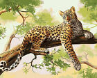 Beautiful Leopard On Tree Branch Needlepoint Canvas  H171