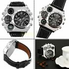 Luxury Quartz Sport Military Stainless Steel Dial Leather Band Wrist Watch Men