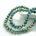 NEW 100pcs Rondelle Faceted Crystal Glass jade AB Loose Spacer Beads DIY 6mm