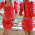 New Autume Women Red Long Sleeve Evening Cocktail Short Mini Dress Clothes