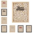Personalized Engraved Name & Name Heart Drop Top Wood Wedding Guest Book Frame