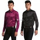 Men Casual Dress Shirts Tops Satin Fashion Lapel Solid Business Long Sleeve