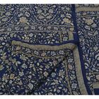 Vintage Indian Floral Printed Saree 100% Pure Silk Craft Fabric Blue Sari