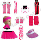 NEON PINK TUTU SKIRT BRACES GLOVES JEWELLERY 1980S FANCY DRESS COSTUME