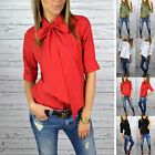 New Elegant Women Fashion Casual Bow Tie Neck 3/4 Sleeve Slim Blouse Tops Shirts