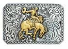 RETRO-STYLE Square Antiqued Silver ~WESTERN BELT BUCKLE~ Saddle Bronc Buck Horse