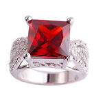 Wedding Red Garnet White Topaz New Fashion AAA Silver Women's Ring Size 7 8 9 10