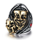 Stainless Steel Men's Punk Gothic High Polished Biker Jewelry Ring US Size 8-12