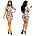 New Womens Summer Sexy 3/4 Sleeve Mini Dress Print Party Evening Cocktail Casual