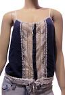 Black Sheep Clothing Navy Blue White Lace Trim Slim Strap Cami Tank Top NWT New