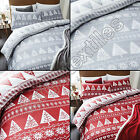 NORDIC CHRISTMAS TREE SNOWFLAKE COTTON RICH QUILT DUVET COVER SET RED WHITE GREY