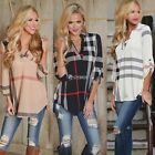 Women Retro Stylish Short Sleeve Loose Plaids Outwear Shirt Blouse Tops V Neck D