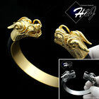 MEN Stainless Steel 12mm Black/Gold/Silver Dragon Head Leather Adjust Bracelet
