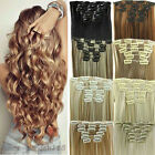 Real as remy human hair Long Clip in Hair Extensions Full Head Wavy Straight L08