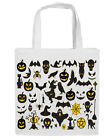 HALLOWEEN PRINT TRICK OR TREAT WHITE COTTON TOTE BAGS CANVAS SHOULDER STRAP