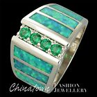 4x Emerald Kiwi Green Fire Opal Silver Jewelry Wide Band Ring Size 7 8 9 10 11