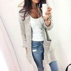 Womens Knitted Long Sleeve Top Ladies Loose Cardigan Coat Knitwear with Pocket