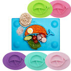 Silicone One-piece placemat Child Baby Divided Dish Happy Bowl Suction Plates