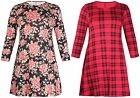 Womens New Plus Size Floral Print Ladies Long Sleeve Flared Swing Dress Long Top