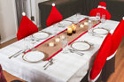 "Rustic Christmas Table Runners - 70"" Country Burlap Tablecloth (Red Border)"