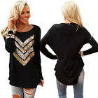 Women Long Sleeve Sequin Round Neck Casual Long Blouse Tops T Shirt Black WLS