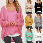 Plus Size Long Sleeve FALL Pullover Ladies Loose Baggy Women's Casual Top Jumper