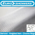 White Diamond Fabric Shower Curtain - Polyester - Weighted Hem - Various Sizes