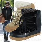 AnnaKastle Womens Slouchy Genuine Suede Shearling Wedge Ankle Boots UK 3 4 5 6